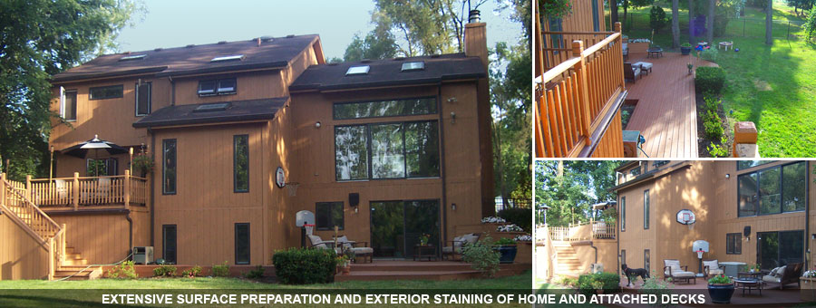 Staining of the Exterior of the house and deck in DuPage County