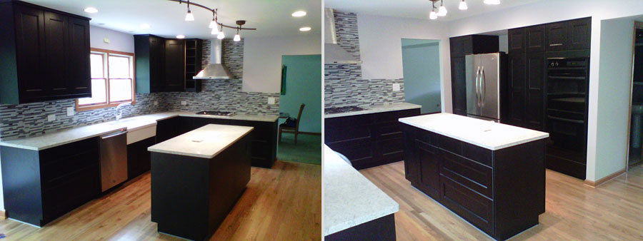 The home owners chose a very modern looking black cabinet with cashmere  white counter tops.