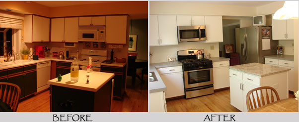 Interior painting by avid co dupage county area for Before and after pictures of painted laminate kitchen cabinets