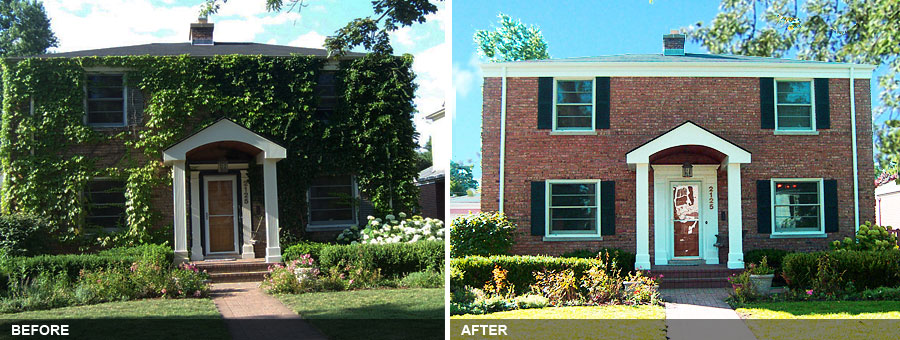 Exterior Restoration Of A Brick Wilmette House Including Removal Of  Invasive Ivy