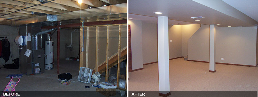 West Dundee Finished Basement Rec Room And Bathroom. BEFORE. AFTER